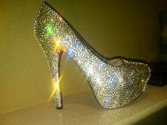 Handmade Genuine Swarovski Crystal Shoes by Blingedoutbliss, $335.00  For liza