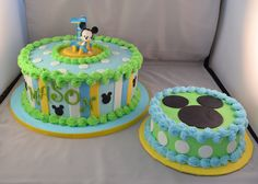 Blue Baby Mickey with matching smash cake.
