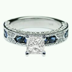 Saphire and diamond engagement ring