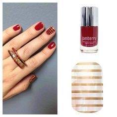 """Did you know that Jamberry wraps can be layered? If you see a wrap that says """"clear"""" in its description, that means your natural nail can be seen underneath it. Those are the ones you can layer on top of polish or another wrap! So fun, and SO easy to do! The possibilites are endless! #CardinalJN #MetallicGoldPinstripeJN http://csweeney.jamberrynails.net"""