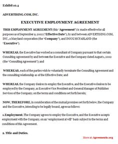 Beautiful Executive Employment Agreement #executive #employment #agreement | Employment  Agreements | Pinterest