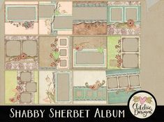 Spring Digital Scrapbook Album - Shabby Sherbet Digital Quick Page Album - 12 Chic Floral Pre-Made Scrapbook Layout Pages, Digital Album Heritage Scrapbook Pages, Scrapbook Kit, Album Design, Photoshop Elements, Digital Scrapbooking, Digital Papers, Shabby, Paper Crafts, Canvas Prints
