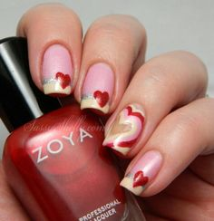 Valentines Day Mani K A Boo Hearts With Zoya Nail Polish And French Tip Dip