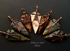More Wire wrapped arrowhead pendants available, each one is unique.
