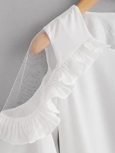 Blusa de volante con malla insertada-Spanish SheIn(Sheinside) Vestido Branco 09c62fbd15872