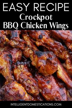 Make these BBQ Wings in the Crockpot with only 3 ingredients We serve them for parties game day and of July They go in the Crockpot frozen no need to thaw bbq intellid Frozen Chicken Wings, Bbq Chicken Wings, Bbq Wings, Chicken Thigh Recipes, Bbq Chicken Thighs Crockpot, Recipe Chicken, Chipotle Chicken, Chicken Dips, Slow Cooker