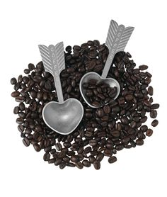 HEART COFFEE SCOOP | Romantic, Unique, Handmade Pewter Arrow and Heart Coffee Bean, Grinds Scoop | UncommonGoods