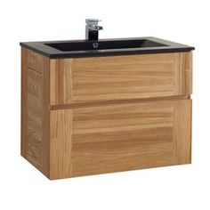 Meuble sous-vasque frêne 80 cm Essential II ,Plan vasque Essential Noir 80 cm