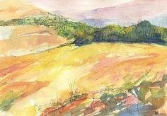 Original watercolor landscape painting Landscape Memory No. 4