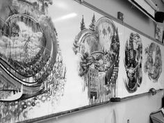 Sumi ink paintings on whiteboard by Gregory Euclide