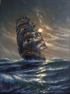 marine See painting Pirate Art, Pirate Ships, Old Sailing Ships, Ship Paintings, Boat Art, Stormy Sea, Scenery Wallpaper, Ship Art, Dark Fantasy Art