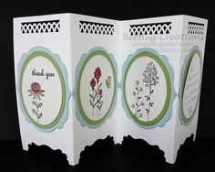 31 Ideas Folding Screen Ideas Creative Stampin Up Tri Fold Cards, Fancy Fold Cards, Folded Cards, Handmade Birthday Cards, Greeting Cards Handmade, Screen Cards, Step Cards, Interactive Cards, Shaped Cards