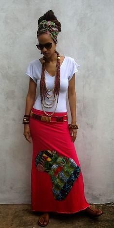 I Love Afrika PatchWork Maxi Skirt ankara kente by iladesigns ~African fashion, Ankara, Nigerian style, Ghanaian fashion ~DKK African Inspired Fashion, African Dresses For Women, African Print Fashion, Africa Fashion, African Attire, African Wear, African Women, African Prints, African Style