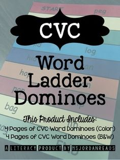 Students will develop automaticity with CVC words (perfect for building word fluency!) and will practice rhyming using various CVC word families. Students will read a word, find the rhyming word, and then line up the strips so the words are stacked. FOUR different word ladders included (COLOR & B/W). $1.75