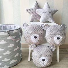 ♥ These lovely pillows are handmade and designed by me. Very soft and so nice to touch plush Minky. Stuffed with an anti allergenic stuffing. The dimensions of the Unicorn pillow: 43 cm = 17 inches long 38 cm = 15 inches tall The dimensions of the Bear pillow: 30 cm = 12 inches long