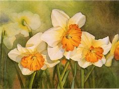 10 best images about Art/Daffodils Watercolor Flowers Tutorial, Floral Watercolor, Watercolor Paintings, Flower Paintings, Collages, Art Aquarelle, Spring Painting, Bulb Flowers, Arte Floral