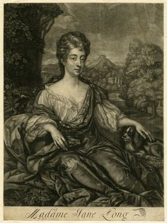 Portrait, nearly whole length, sitting, hair in curls, wearing low dress, and stroking a small dog; landscape with trees, buildings, and a mountain in the background. Significantly reworked; face and hair entirely altered, and publisher's name almost erased.  Mezzotint