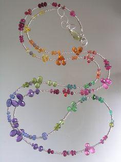 Rainbow Gemstone Sterling Long Wrap Layered by bellajewelsII, $398.00