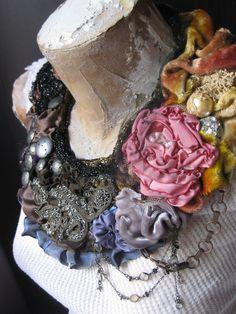 Vintage Fabric Edwardian Beaded Applique Scarflette Bib Textile Art Necklace. $85.00, via Etsy.