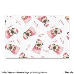Little Christmas Festive Pugs Tissue Paper Christmas Gift Wrapping, Christmas Gifts, Corner Designs, Little Christmas, Tissue Paper, Happy Holidays, Reindeer, Pugs, Festive