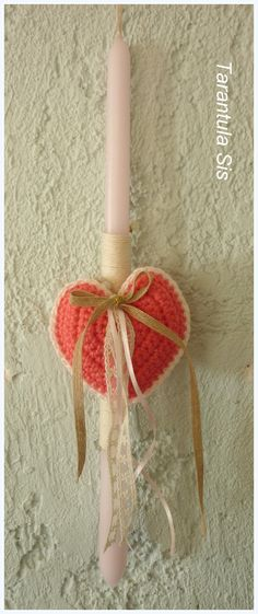 Crochet heart. Easter candle decoration.