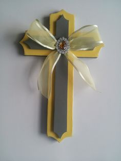 ON SALE Wood Cross  Yellow and Gray by ForeverYoursCreation, $10.00