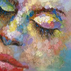 Trendykunst presenteert dit prachtige olieverfschilderij van een vrouwengezicht in vele kleuren.  Olieverf schilderijen zijn met de hand geschilderd op doek.
