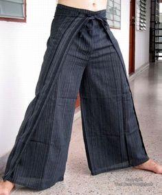 Cotton Stripe Fisherman Tie Wrap Around Pants - Black