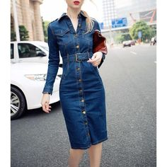 Fashion Plain Sleeve Bodycon Denim Dress – lovejewelryacc dresses outfit cute dresses for summer casual womens summer dresses fancy outfit Women's Dresses, Plus Size Dresses, Casual Dresses, Fashion Dresses, Denim Dresses, Summer Dresses, Denim Fashion, Retro Fashion, Fashion Women