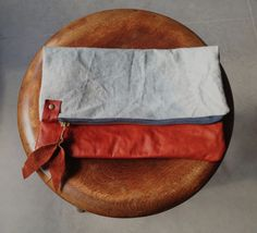 Dear Pony - Up cycled leather & over dyed canvas clutch