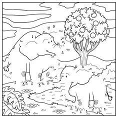 Coloriage jeu de points à relier éléphant