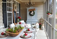 Because I was doing the red for Lillie I went ahead and went for a fun look out on the porch this year. I used our red reindeer pillow ...