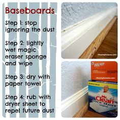 clean up your baseboards :: saturday cleaning inspiration and tips Household Cleaning Tips, Cleaning Recipes, House Cleaning Tips, Deep Cleaning, Spring Cleaning, Car Cleaning, Move In Cleaning, Cleaning Lists, Cleaning Schedules