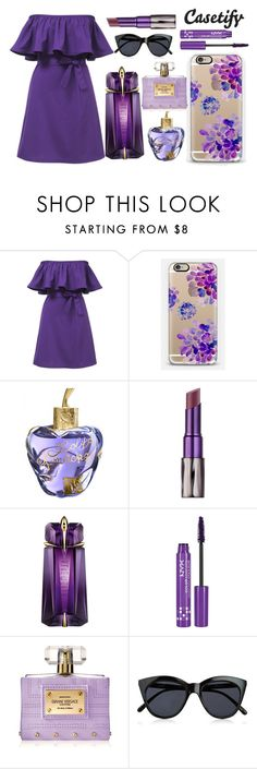 """""""Born to the PURPLE """" by casetify ❤ liked on Polyvore featuring Casetify, Lolita Lempicka, Urban Decay, David Jones, NYX, Versace, Le Specs, purple and ootd"""