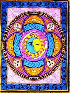"Sun and Moon Celtic Tapestry  New Sun and Moon Celtic Tapestry measures 60"" x 90"".  Bright and full of color along with Celtic designs.  Tapestries can be used for wall hangings, bed spreads, a throw over your couch, table cloths, and much more. #sunshinedaydream #hippieshop"