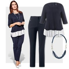 Outfit bis Größe 64 erhältlich auf http://www.ullapopken.de/de/?campaign=sm/pinterest #ullapopken #plussizefashion #blue #marine #outfit #ootd #style #plussize #business #frau #woman