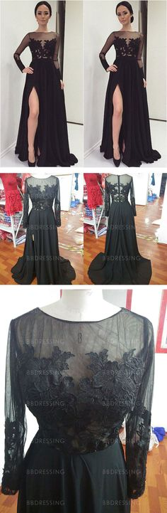 Black Prom Dresses With Slit And Long Sleeves pst0690 · BBDressing · Online Store Powered by Storenvy