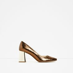 ZARA - WOMAN - CRACKLED LEATHER MID HEEL SHOES