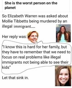 Warren is a cold hearted witch. Evil People, Stupid People, Let That Sink In, Liberal Logic, Political Memes, Conservative Politics, Whats Wrong, Reality Check, Dumb And Dumber