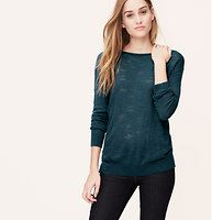 Heathered Pullover - We're digging the heathered-meets-sheer play of this burnout style. Add a cami beneath for more coverage. Boatneck. Long sleeves. Roll edge trim at neckline. Ribbed cuffs and hem.