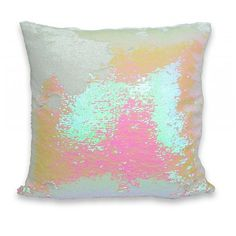 Aviva Stanoff Design Mermaid Sequins Pillow in Pink and White 20 x 20