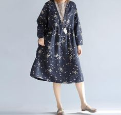 Women autumn blue long dress Printed dresses by MaLieb