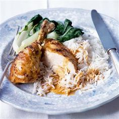 Oriental roast chicken with coconut gravy recipe. This spice blend is a wet rub, using oriental spices and lime juice to flavour the bird.