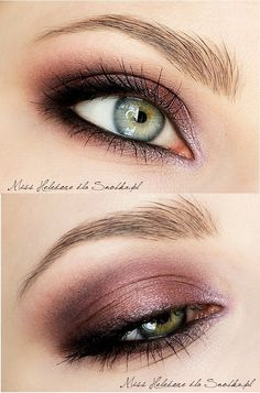 Plum smokey eye. Click for tutorial! It's in Polish but it lists the products at the bottom - have to use Google to translate.