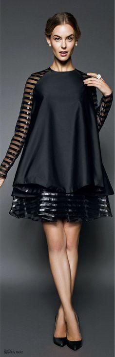 John Paul Ataker ~ Spring Black Tunic w Silver Metallic Stripe Mini Skirt  2015