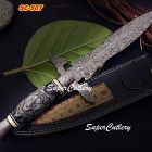 Super Cutlery Custom Damascus Art Dagger Knife Bull Horn Handle Scrims