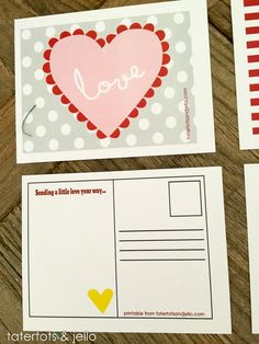 Free Printable Valentine Postcards!! -- Tatertots and Jello