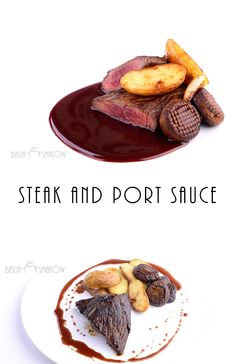 Steak and port sauce with new potatoes and mushrooms