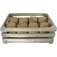 Wood Crate with 8 Twine Spools and Winding Tool