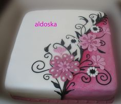 White and Pink Cake with Flowers and Black Accents Weißer und rosa Kuchen mit Blumen und schwa Elegant Birthday Cakes, Birthday Sheet Cakes, Pretty Cakes, Cute Cakes, Beautiful Cakes, Amazing Cakes, Fondant Cakes, Cupcake Cakes, Bolo Floral